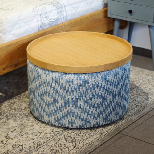 Cozy 60 pouf  with wooden Tray