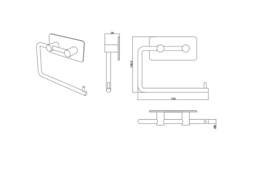 BASE 200 Tol.Paper holder  60604  matt chrome